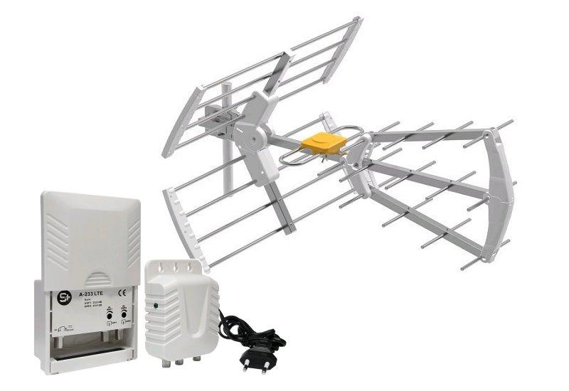 Anténa Angular Flexivel TRI-15 Lte se zesilovačem 33dB pro 2 TV