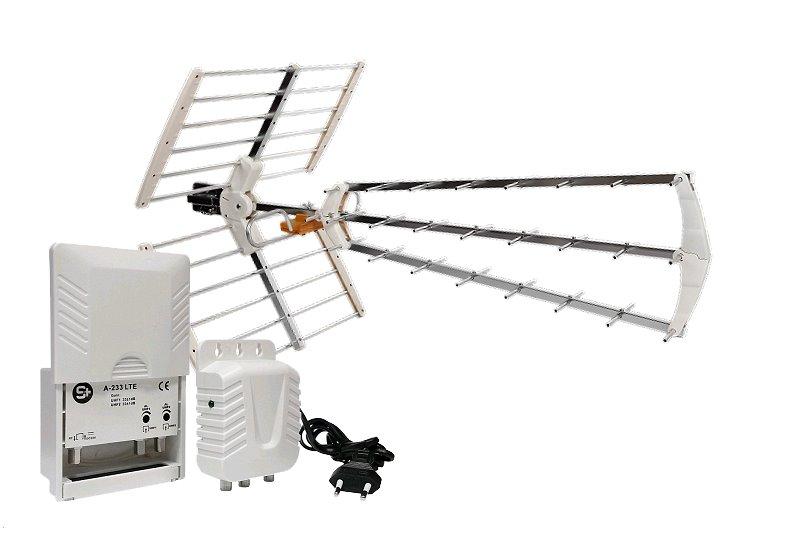 Anténa Angular Flexivel TRI-26 Lte se zesilovačem 33dB pro 2 TV